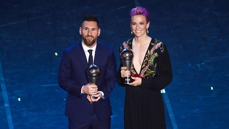Lionel Messi, Megan Rapinoe named FIFA players of the year