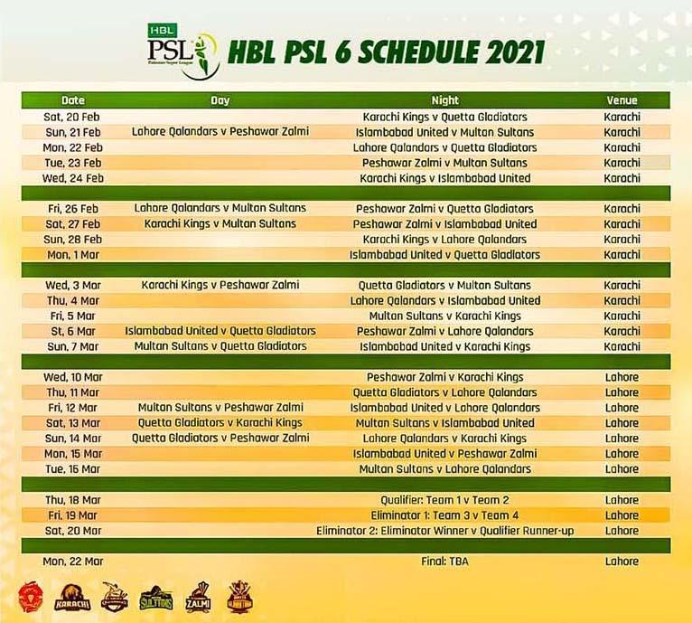 HBL-PSL-2021-schedule